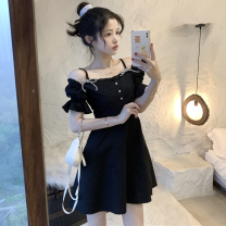 Dress Summer 2021 White, black S, M Short skirt singleton  Short sleeve commute One word collar High waist Solid color A-line skirt routine 18-24 years old Type A Korean version bow Four point seven