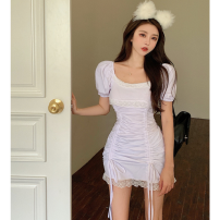 Dress Summer 2021 Grey, white Average size Short skirt singleton  Short sleeve commute square neck High waist Solid color Socket One pace skirt puff sleeve 18-24 years old Type A Korean version Pleats, lace Four point two