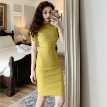 Dress Spring 2021 Cinnabar red, coral girl pink, purple flowers, temperament black, cobalt green, corn yellow Average size Mid length dress singleton  Short sleeve commute Crew neck Solid color Socket One pace skirt routine Others 18-24 years old four point one eight
