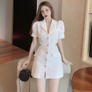 Dress Summer 2021 white S,M,L Short skirt singleton  Short sleeve commute tailored collar High waist Solid color Single breasted A-line skirt puff sleeve 18-24 years old Type A Korean version Hollowed out, bare back four point one one