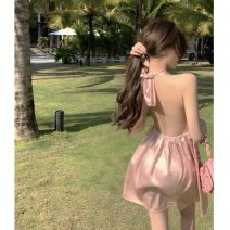 Dress Summer 2021 Picture color Average size Short skirt singleton  Sleeveless commute V-neck High waist Solid color Socket A-line skirt Hanging neck style 18-24 years old Type A Korean version Open back, lace up two point two seven