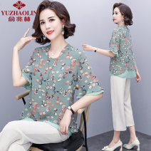 Middle aged and old women's wear Summer 2021 Green + Pants Khaki + Pants Green Khaki XL (recommended 90-110 kg) 2XL (recommended 110-125 kg) 3XL (recommended 125-135 kg) 4XL (recommended 135-145 kg) 5XL (recommended 145-160 kg) fashion suit easy Two piece set Flower and bird pattern 40-49 years old