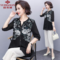 Middle aged and old women's wear Summer 2021 Black + Pants Black XL (recommended 90-110 kg) 2XL (recommended 110-125 kg) 3XL (recommended 125-135 kg) 4XL (recommended 135-145 kg) 5XL (recommended 145-160 kg) fashion suit easy Two piece set Big flower 40-49 years old Socket thin other routine other