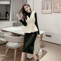 Dress Winter 2020 Black skirt with white vest S,M,L Mid length dress Two piece set Long sleeves commute More than 95%