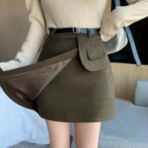 skirt Autumn 2020 S,M,L,XL Short skirt commute High waist Irregular Type A 31% (inclusive) - 50% (inclusive) Wool