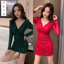 Dress Winter 2020 Black, red, dark green S,M,L,XL,2XL,3XL Short skirt singleton  Long sleeves commute V-neck High waist Solid color zipper One pace skirt routine Others 25-29 years old Type H lady Backless, pleated, stitched, zipper G3828 other polyester fiber