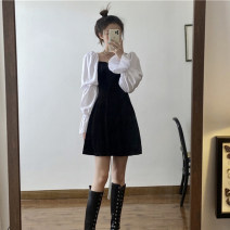 Dress Spring 2020 black S, M Short skirt singleton  Long sleeves commute square neck High waist A-line skirt Pile sleeve 18-24 years old Type A Korean version 8-20 91% (inclusive) - 95% (inclusive) polyester fiber