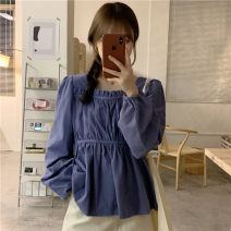shirt White, blue, black Average size Autumn 2020 cotton 31% (inclusive) - 50% (inclusive) Long sleeves commute Regular square neck Solid color 18-24 years old Korean version 8-22