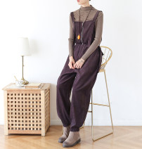 Casual pants Brown Average size Winter 2020 trousers Wide leg pants Natural waist original routine 96% and above corduroy pocket cotton Asymmetry