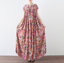Dress Spring 2021 Pink One size fits all. The version is very loose longuette singleton  Short sleeve commute Crew neck Loose waist Broken flowers Socket A-line skirt routine Others Type A Eucalyptus Mutu Retro Fold, pocket, print 31% (inclusive) - 50% (inclusive) other hemp