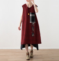 Dress Spring 2021 gules Average size longuette singleton  Sleeveless commute Crew neck Loose waist lattice Socket A-line skirt routine Others Type A Eucalyptus Mutu Retro 30% and below other hemp