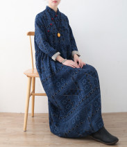 Dress Spring 2021 navy blue One size fits all, Plush & amp; thickened longuette singleton  Long sleeves commute Slant collar Loose waist Abstract pattern Socket Irregular skirt routine Others Type H Eucalyptus Mutu Retro 31% (inclusive) - 50% (inclusive) other hemp
