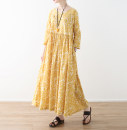 Dress Spring 2021 yellow M, L longuette singleton  Long sleeves commute Crew neck Loose waist Broken flowers Socket A-line skirt routine Others Type A Eucalyptus Mutu Retro 31% (inclusive) - 50% (inclusive) other