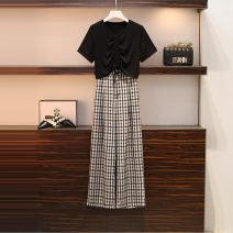 Women's large Summer 2021 Black top, plaid wide leg pants, suit Large L, large XL, large 2XL, large 3XL, large 4XL trousers Two piece set commute easy moderate Socket Short sleeve Plaid, solid Korean version V-neck have cash less than that is registered in the accounts Polyester, cotton routine