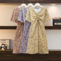 Women's large Summer 2021 Purple, red, yellow Large L, large XL, large XXL, large XXL, large XXXXL, large M Dress singleton  commute easy moderate Socket Short sleeve Decor Korean version V-neck printing and dyeing Three dimensional decoration Medium length other