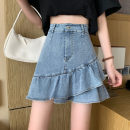 skirt Spring 2021 S,M,L,XL,2XL,3XL Light blue (lined), light blue (unlined) Short skirt commute High waist Ruffle Skirt Solid color Type A 18-24 years old Denim cotton Ruffles, folds Korean version
