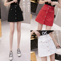 skirt Summer 2021 S,M,L,XL White, red, black Short skirt commute High waist A-line skirt Solid color Type A 25-29 years old More than 95% brocade cotton Pockets, buttons, thread trim Korean version