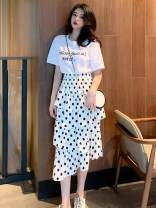 Fashion suit Summer 2021 Average size White T-shirt, black polka dot skirt, white polka dot skirt Other / other Please fill in polyester fiber