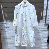 Dress Summer 2021 white S,M,L Mid length dress singleton  elbow sleeve commute Polo collar Loose waist other Single breasted A-line skirt shirt sleeve Others 25-29 years old Type A New bird home Pocket, tie dye, print FN20216569 More than 95% other cotton