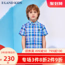 shirt green E·LAND KIDS male 110cm 120cm 130cm 140cm 150cm 160cm 170cm summer Short sleeve college lattice cotton Lapel and pointed collar Cotton 100% EKYCB6501R