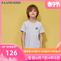 T-shirt M / Grey / 18 Blue / 50 E·LAND KIDS 110cm 120cm 130cm 140cm 150cm 160cm 170cm male summer Short sleeve Crew neck leisure time There are models in the real shooting nothing cotton Cotton 100% EKRAB6402R