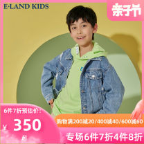 Plain coat E·LAND KIDS male 110cm 120cm 130cm 140cm 150cm 160cm 170cm Indigo indigo / 55 spring and autumn leisure time Single breasted There are models in the real shooting routine nothing Broken flowers cotton other EKJEB2301Q Cotton 100%