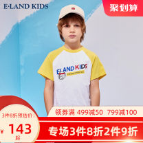 T-shirt Blue / 50 yellow / 30 grey / 15 E·LAND KIDS 110cm 120cm 130cm 140cm 150cm 160cm 170cm male summer Short sleeve Crew neck leisure time There are models in the real shooting nothing cotton Cartoon animation Cotton 100% EKRAB6504B