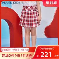 skirt 110cm 120cm 130cm 140cm 150cm 160cm 165cm Red / 20 E·LAND KIDS female Cotton 100% summer skirt college lattice Lotus leaf edge