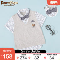 shirt Grey / 15 paw in paw male 105cm 110cm 120cm 130cm 140cm 150cm summer Short sleeve college cotton Lapel and pointed collar Cotton 100% PCYAA2532P Class B Summer 2020