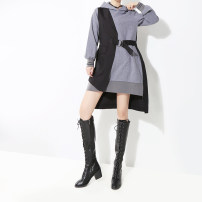 Dress Autumn of 2019 grey Average size Mid length dress singleton  Long sleeves commute Hood Loose waist Solid color Socket Irregular skirt routine 25-29 years old Type H stella marina collezione Korean version Pocket, lace up, stitching, asymmetry, bandage 71% (inclusive) - 80% (inclusive)