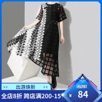 Dress Summer of 2018 Black and white Average size Mid length dress singleton  Short sleeve commute Crew neck Loose waist Solid color Socket Irregular skirt routine 25-29 years old Type A stella marina collezione Korean version Splicing, asymmetric