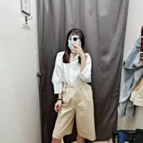 Casual pants Fish thread Youth fashion Black, dark blue, light beige, dark brown S,M,L,XL routine Pant Other leisure Straight cylinder High waist Solid color