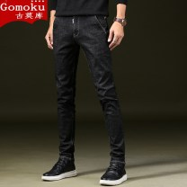 Jeans Youth fashion Gomoku / Gomoku 27 28 29 31 30 32 33 34 36 38 black routine Super high elasticity Cotton elastic denim GMKGJQK018 trousers Cotton 89.7% polyester 8.6% polyurethane elastic fiber (spandex) 1.7% autumn youth middle-waisted Slim feet tide 2019 Little straight foot zipper cotton