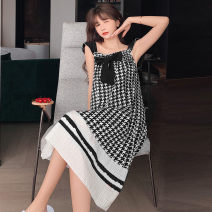 Nightdress Other / other 2130 # black, 2130 # red M, l, XL, XXL Sweet camisole Leisure home Middle-skirt summer lattice youth Crew neck cotton Mosaic decoration More than 95% Woven cotton fabric 200g and below