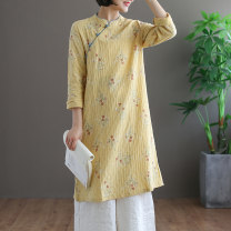 Dress Spring of 2019 Green, yellow, pink Average size Mid length dress singleton  Long sleeves commute stand collar Loose waist Decor Socket A-line skirt routine Others Type A Retro 51% (inclusive) - 70% (inclusive) hemp