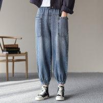 Jeans Spring 2021 Light blue, dark blue M,L,XL Ninth pants High waist Knickerbockers routine washing Cotton denim light colour Dale 96% and above