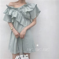 Dress Summer of 2019 Average size Middle-skirt Short sleeve commute V-neck High waist Socket Ruffle Skirt routine Others 25-29 years old Type H Korean version 31% (inclusive) - 50% (inclusive) other other
