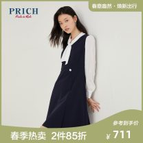 Dress Spring 2021 59 navy blue 165 155 160 170 Mid length dress singleton  Long sleeves commute Scarf Collar Elastic waist Solid color other other shirt sleeve Others 25-29 years old PRICH Britain PROWB1120Q 71% (inclusive) - 80% (inclusive) polyester fiber