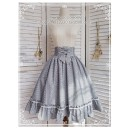 skirt Spring 2020 Average size grey Middle-skirt Retro High waist A-line skirt Decor Type A 18-24 years old MUKUMURO19122902CL Poplin Other / other cotton Bowknot, tuck, fold, pocket, lace, thread, tridimensional decoration, bandage, aging, zipper, stitching, printing, lace