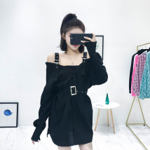 Dress Autumn of 2018 White black army green Average size Short skirt singleton  Long sleeves commute One word collar High waist Solid color Single breasted One pace skirt routine camisole 18-24 years old Type A Six Princesses Korean version 072923 31% (inclusive) - 50% (inclusive)