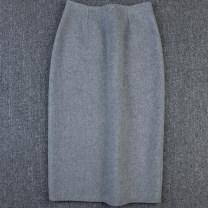 skirt Autumn of 2019 S,M,L,XL Medium grey Mid length dress commute High waist skirt lattice Type H 30-34 years old 70 medium grey More than 95% Wool wool Ol style