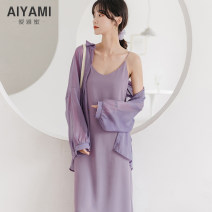 Dress Summer 2020 S M L XL longuette Two piece set Sleeveless V-neck Solid color Socket A-line skirt other camisole 18-24 years old Type A Aiya honey More than 95% polyester fiber Other polyester 95% 5%