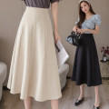 skirt Spring 2020 S M L XL 2XL Bean green apricot black longuette Versatile High waist A-line skirt Solid color Type A 6602## 91% (inclusive) - 95% (inclusive) Aiya honey polyester fiber Other polyester 95% 5%
