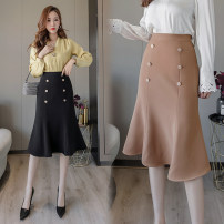 skirt Autumn of 2019 S M L XL 2XL Khaki black Mid length dress Versatile High waist A-line skirt Solid color Type A 91% (inclusive) - 95% (inclusive) Aiya honey cotton Cotton 95% other 5%