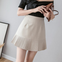 skirt Summer of 2019 S M L XL Khaki grey black Short skirt Versatile High waist Pleated skirt 18-24 years old 91% (inclusive) - 95% (inclusive) Aiya honey other New polyester 95% other 5% Pure e-commerce (online only)