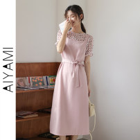 Dress Summer 2021 Pink S M L XL longuette singleton  Short sleeve commute Crew neck High waist Solid color Socket A-line skirt routine 18-24 years old Type A Aiya honey Frenulum 1090# More than 95% polyester fiber Other polyester 95% 5%