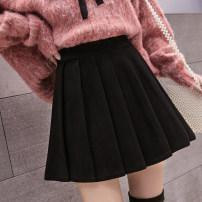 skirt Autumn of 2019 S M L XL XS 2XL 3XL Black dark grey grey apricot Short skirt Versatile High waist A-line skirt Solid color Type A 9978# 91% (inclusive) - 95% (inclusive) Aiya honey cotton Cotton 95% other 5%