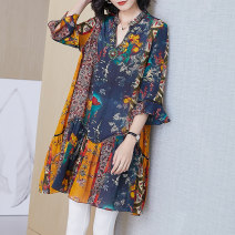 Women's large Spring 2021 Picture color XL ( Suitable for 110 - 25kg) 2XL ( Suitable for 125 - 140 kg) 3XL ( Suitable for 140 - 155kg (for wearing) Dress singleton  commute easy thin Socket Long sleeves Decor ethnic style V-neck Medium length silk routine R211025 Lady Rui longuette Mulberry silk 100%