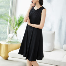 Women's large Summer 2020 XL (for 110-125 kg) 2XL (for 125-140 kg) 3XL (for 140-155 kg) 4XL (for 155-170 kg) 5XL (for 170-185 kg) 6xl (for 185-200 kg) Dress singleton  commute easy thin Socket Sleeveless Solid color Simplicity Crew neck Three dimensional cutting Lady Rui Medium length