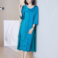 Women's large Spring 2021 Turquoise (waist down) black (waist down) dark green (waist down) XL (for 105-120 kg) 2XL (for 120-135 kg) 3XL (for 135-150 kg) 4XL (for 150-165 kg) Dress singleton  commute Self cultivation moderate Socket three quarter sleeve Solid color Simplicity Crew neck Medium length